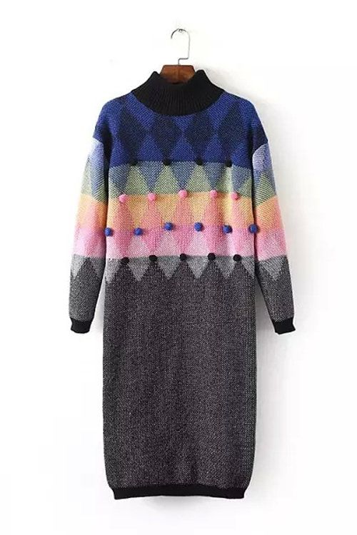Grey Knit Tunic Sweater with Pompon - US$47.95 -YOINS