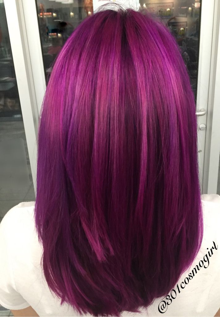Hair Color By 301cosmogirl Beautiful Multidimensional Magenta And Purple Hair In 2020 Magenta Hair Violet Hair Colors Hair Styles