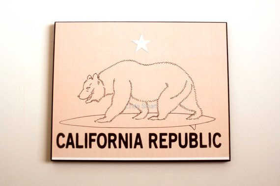 California Republic Bear surfing California by Cityscapesandthings