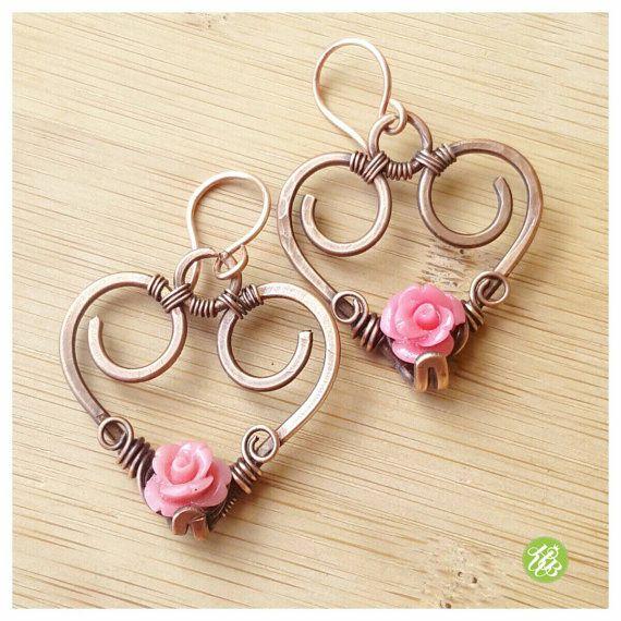 Wire wrapped heart earrings copper heart by FromRONIKwithLove