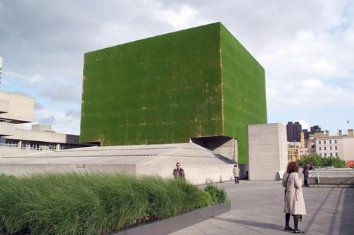 """Remember the """"Black Square"""" by Kazimir Malevich?  National Theater's Lyttelton flytower (""""flytower"""" is a part of a theatre above the stage), which is the artists' largest exterior work to date, is the embodiment of Malevich idea in architecture, only it's green and alive (though for a limited time) by British artists Heather Ackroyd and Dan Harvey."""