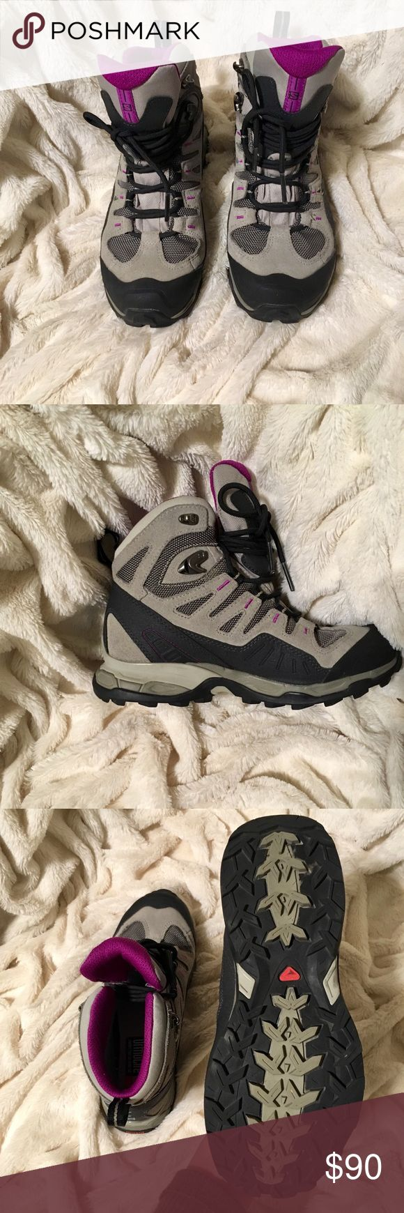 "Gore-Tex Hiking Boots Good Condition Size US 5.5 These hiking boots are a US size 5 1/2, and their style number is #327981. They are in excellent condition-  the only reason I have them listed under ""good"" condition is because they have ""ortholite"" sole inserts I can't remove in them. They were only worn twice. As you can see by the tread on the bottom of the sole, these shoes are in great condition! Retail 130$. gore-tex Shoes Combat & Moto Boots"