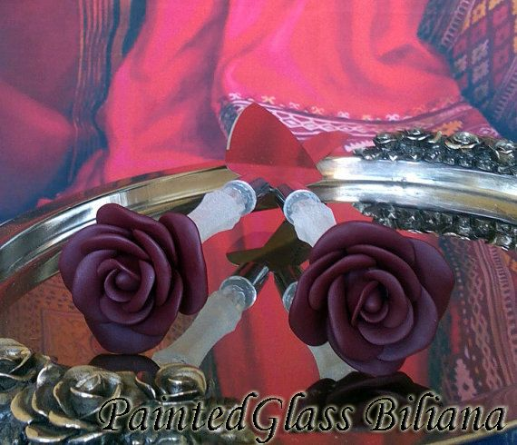 Wedding cake server and knife Burgundy red by PaintedGlassBiliana