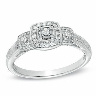 1/8 CT. T.W. Diamond Vintage-Style Three Stone Promise Ring in Sterling Silver | Promise Rings | Wedding | Zales