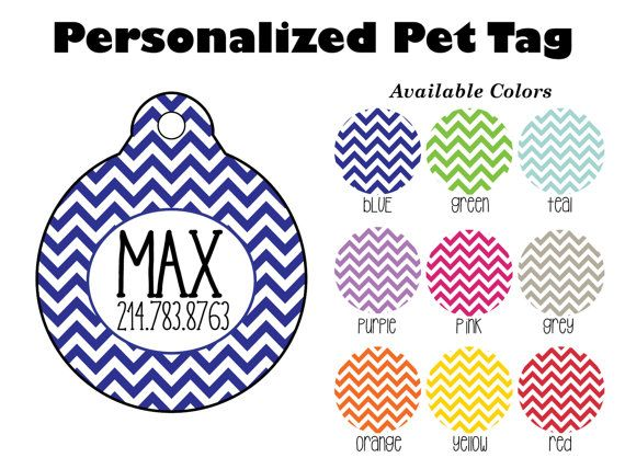 Personalized Chevron Pet Tag Personalized Pet by SunshineSusieBtq
