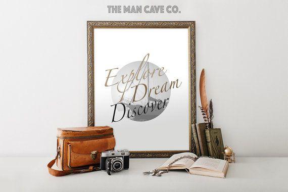 Explore Dream Discover quote print Printable art Nursery