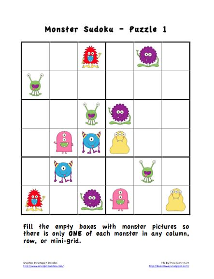Here's a set of Sudoku puzzles (6x6 grid) with pictures instead of numbers. Includes 5 different challenges, puzzle pieces, and an answer key.