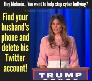 These memes are the greatest. Beautiful, terrific memes. No one has seen better memes than these. That I can tell you. Believe me!: Melania and Cyber Bullying