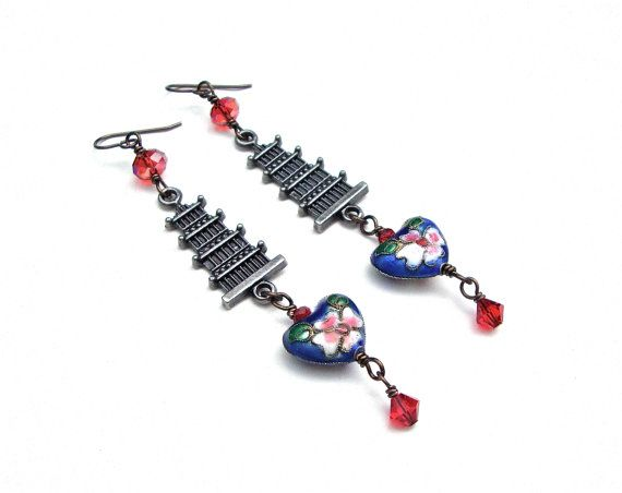 Long pagoda earrings, blue heart earrings, red crystal, metal pagoda earrings, asian inspired, cloisonné earrings, pagoda jewelry  Looking to