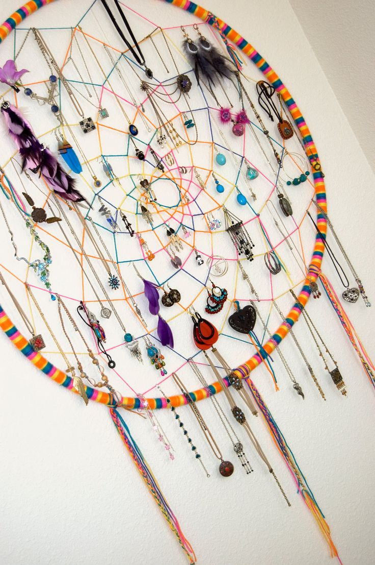 CUSTOM Large Dreamcatcher Hula Hoop Earring Necklace Jewelry Holder Hippie Bohemian. $36.00, via Etsy.