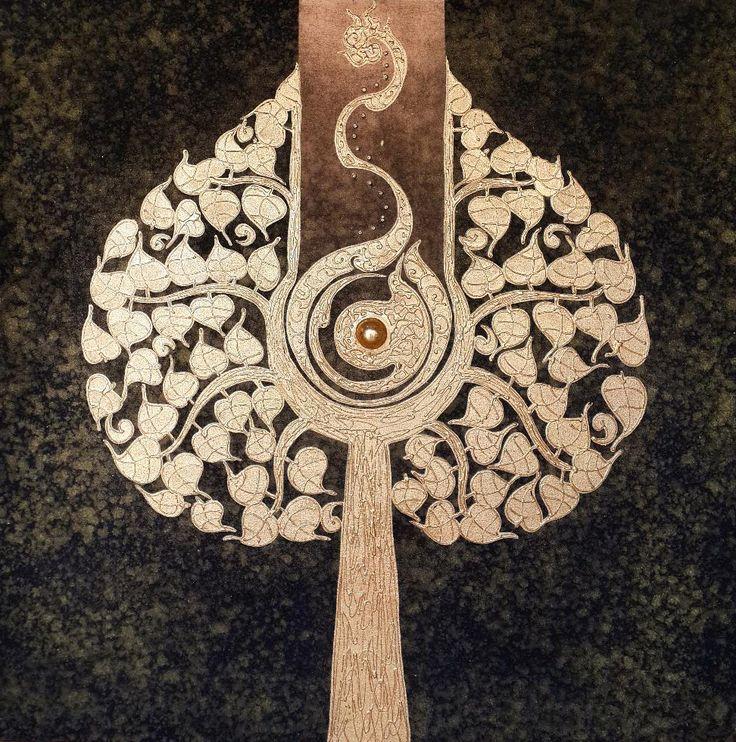Bodhi Tree Paintings for Home Decor. Thai Handmade. 100% pure gold leaf.  Acrylic Artwork **Shipping Worldwide