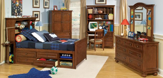 The American Spirit bookcase bed with under bed storage helps to maximize space. – From Legacy Classic Kids