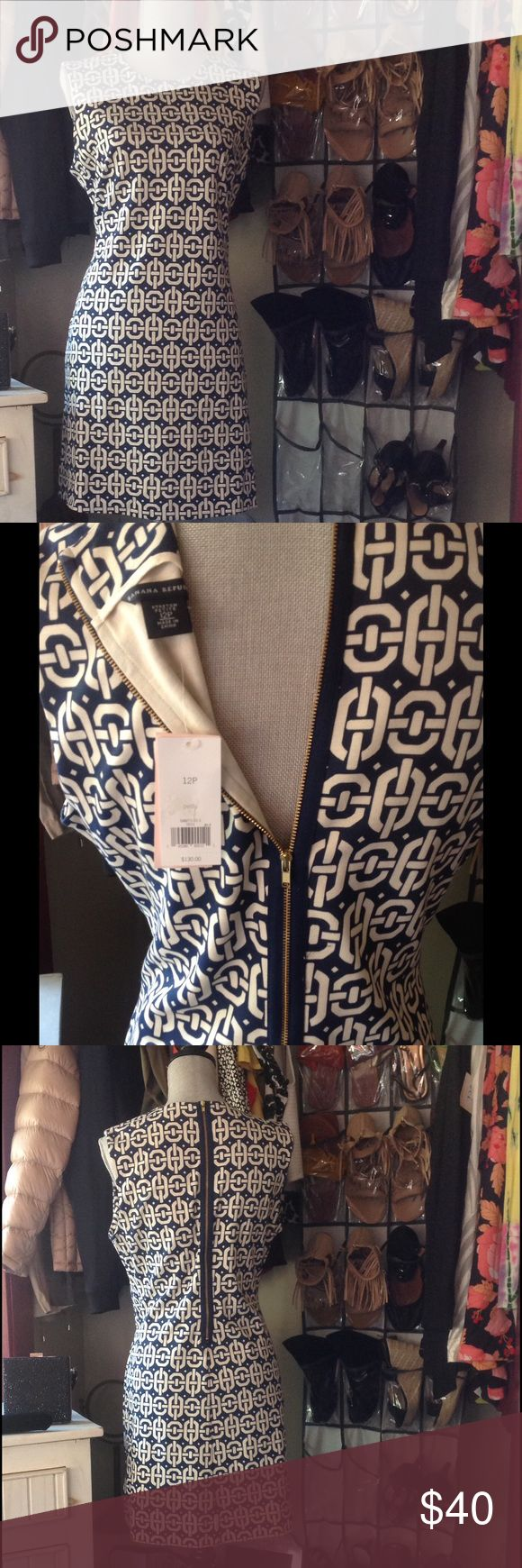 """NWT Banana Republic Sleeveless Petite sized Dress! Navy and White brand new with tags. Back zipper in Navy with gold hardware. Flawless! At knee length for a petite person. I'm 5""""2. Great for work or play. Dress it up or down. Banana Republic Dresses"""