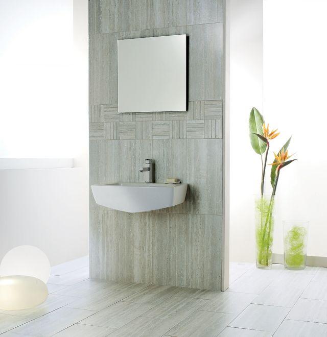Badezimmer Ideen Fliesen Feinsteinzeug Grau Wand Boden