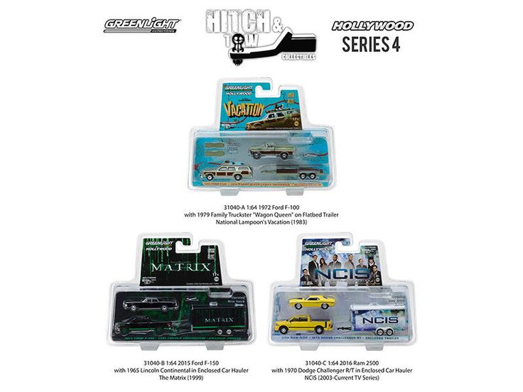 Hollywood Hitch & Tow Series 4 Set of 3 1/64 Diecast Model Cars by Greenlight #Greenlight #FordDodgeLincoln