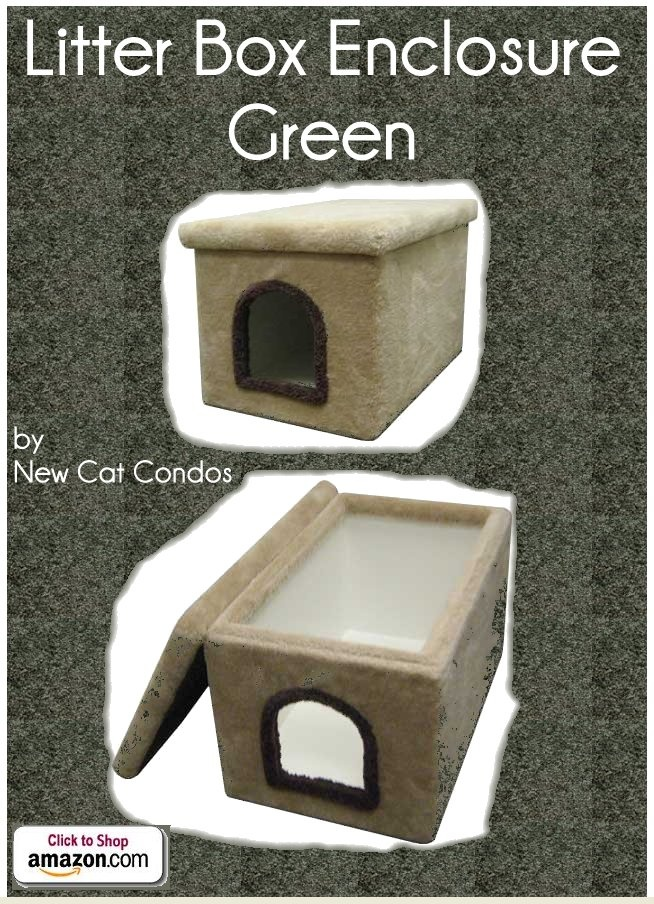 Litter Box Enclosure Green By New Cat Condos Carpeted Outside And Laminate Inside For Your