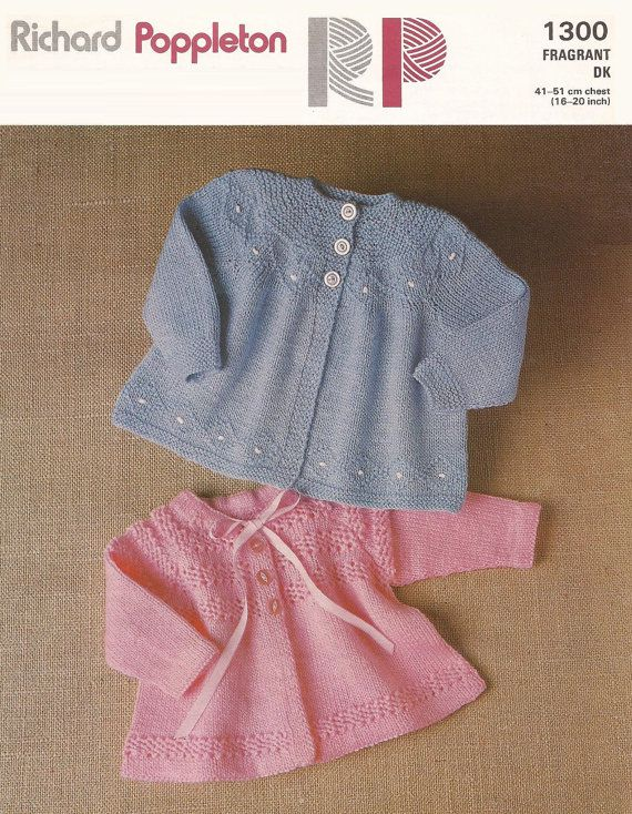 Baby Matinee Jacket 2 styles in DK 8 ply sizes 16 - 20 ins - RP 1300 - PDF of Vintage Knitting Patterns - Instant Download    U.S. YARN EQUIVALENT