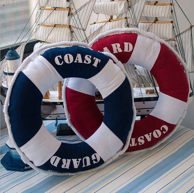 Mediterranean Style Decorative Life Ring Shaped Round Lifebuoy Cushion Throw Nautical Pillow Summer Ocean Theme Pillow(China (Mainland))
