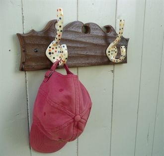 Show details for Handmade antique French church oak plinth with Polka Dot enamel coat hooks (SH0231)