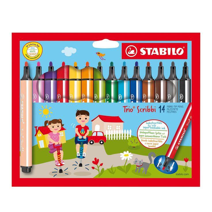 Set van 14 STABILO stiften in handige bureauset. Driehoekige vorm voor een stevige, ergonomische grip in de kinderhand. Onverwoestbare, meeverende punt. Voor een ontspannen teken -en schrijfgevoel. 14 super uitwasbare kleuren, gemakkelijk te verwijderen van handen en uit kleding. De viltstift voor kinderen vanaf 3 jaar. Afmeting: lijndikte 1,5 - 2 mm - STABILO Trio Scribbi Etui, 14st.