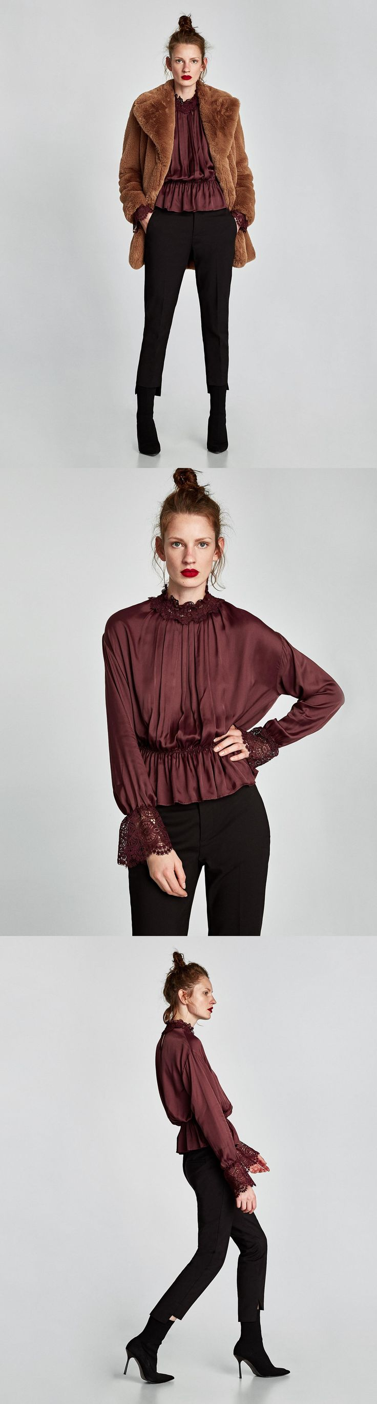 Blouse With Lace Collar // clojure.lang.LazySeq@f09507a8 // Zara // Short flowing blouse with a high lace collar and long sleeves with matching lace cuffs. Features a pleated detail on the front, an elastic waistband and a buttoned opening in the back. HEIGHT OF MODEL: 178 cm. / 5′ 10″