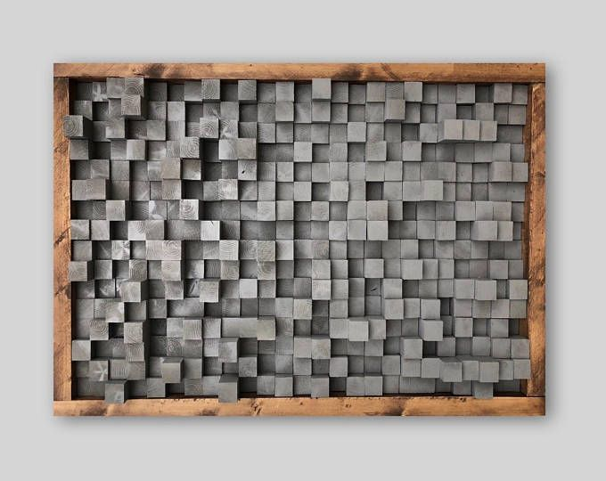 Reclaimed wood sound diffuser acoustic panel red wall hanging art work pixel studio