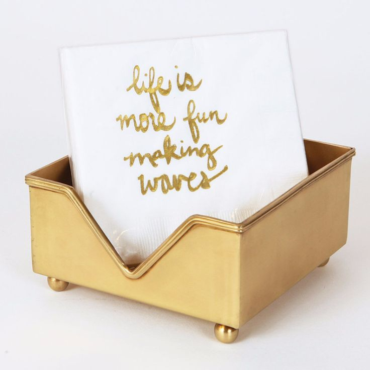 Coastal Life More Fun Making Waves Gold Foil Beverage Napkin