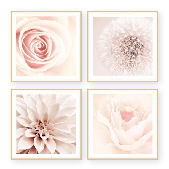 Blush Set Blush Pink Wall Art Set 4 Piece Framed Sizes Up To 36x36 Blush Decor Blush Pink Decor Pink Wall Art