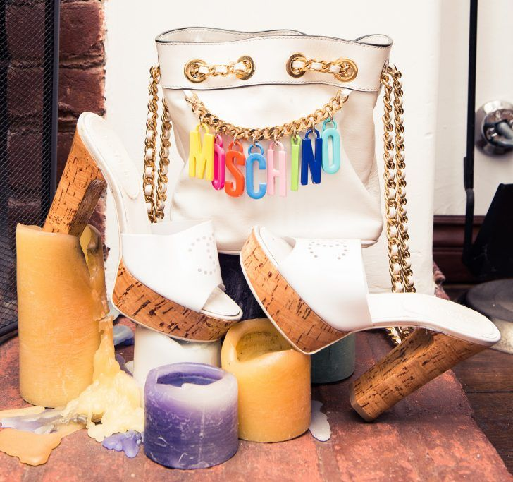"""Inside Fashion Stylist Sophie Lopez's Closet: White and Cork Chanel High Heels, White Bag with Gold Accents and Rainbow """"Moschino"""" Bag 