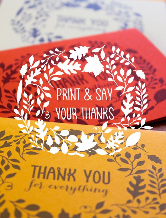free printable Thanksgiving thank you note cards, Oh My! Handmade