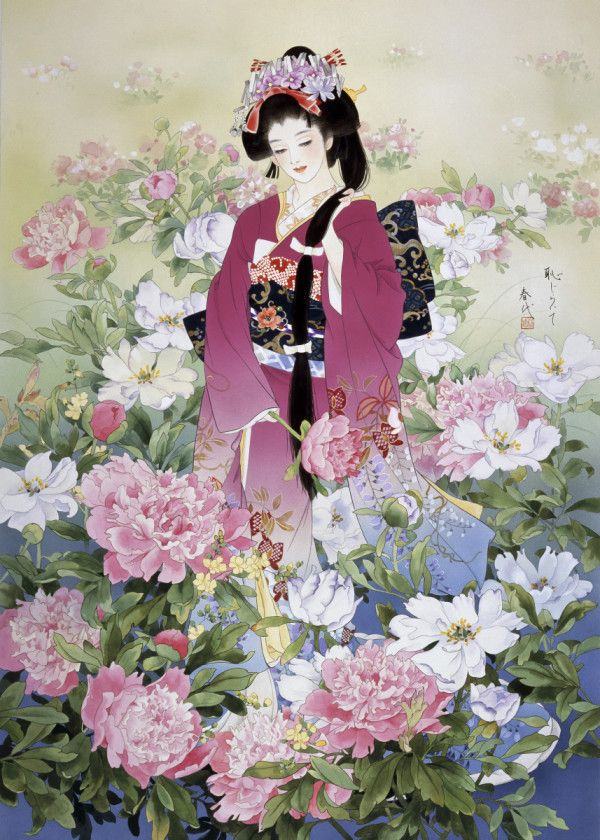 Poster Geisha Asian Flower Wall Art