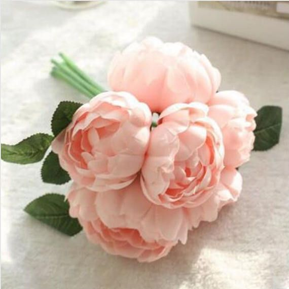 PRE-ORDER Artificial Peony Bouquet Light Pink Peach and