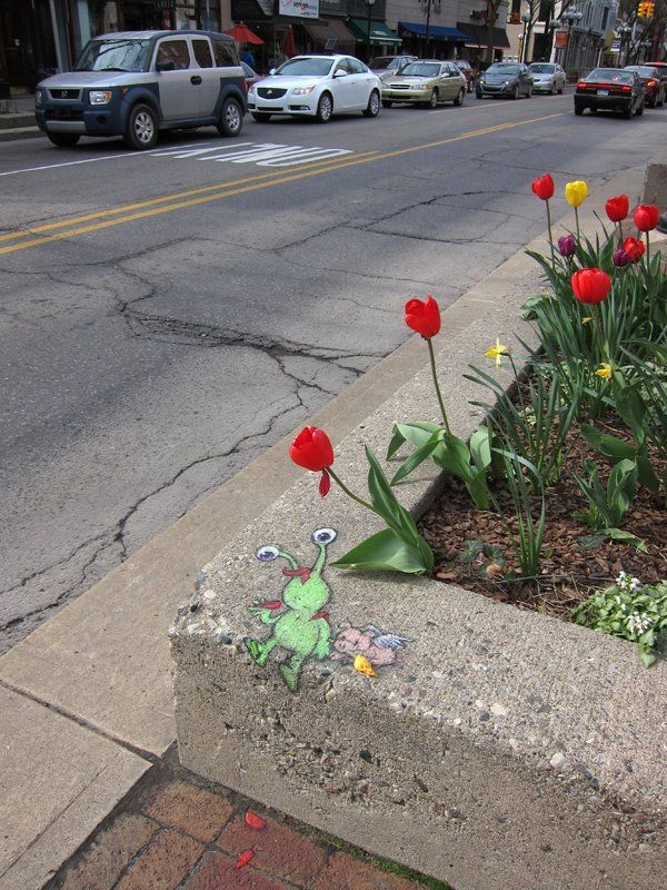Sweet Sluggo Chalk Art by David Zinn - My Modern Metropolis