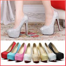 Women High Heels 8 Colors White Silver Blue Red Sexy Prom Red Bottom Rhinestone Women Pumps Ladies Wedding Shoes Plus Size 33-42(China (Mainland))