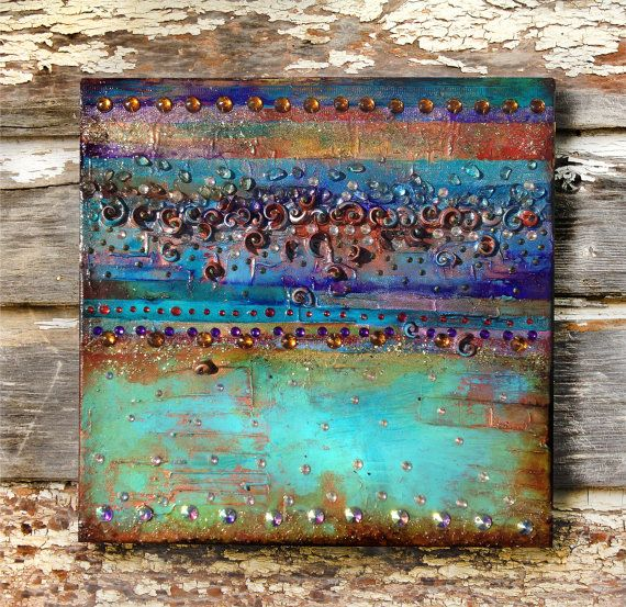 Mixed media wall art, small abstract painting Cafe Del Mar – shells, acrylic small canvas, iridiscent wall art, jewels.
