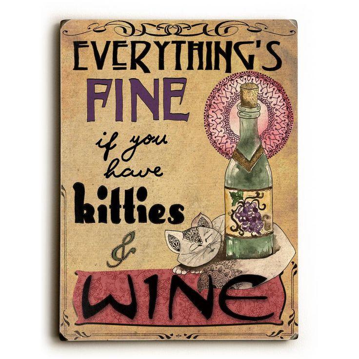 """9 in. x 12 in. """"Kitties & Wine"""" by Jennifer Lee Solid Wood Wall Art"""