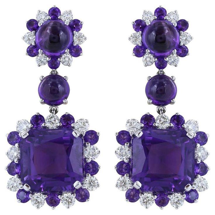 48.71 Carats Amethysts 2.21 Carats Diamonds Gold Drop Earrings 1
