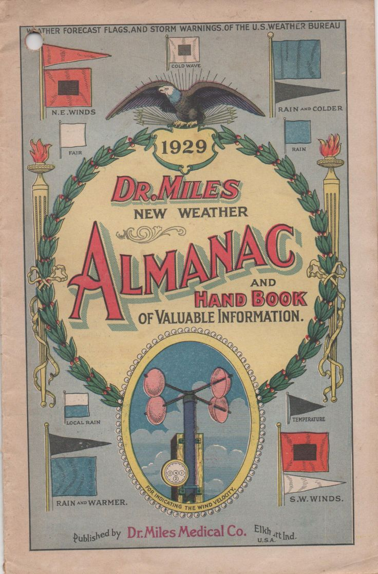 1929 Dr. Miles New Weather Almanac And Hand Book of Valuable Information, fair shape by VintageNEJunk on Etsy