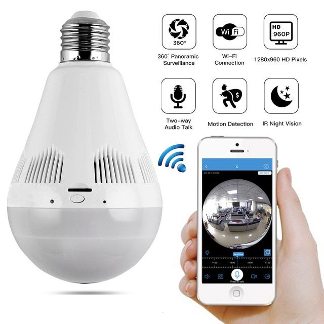 360° Panoramic 1080P Hidden WiFi Camera Light Bulb Mini Security IP Infrared Cam