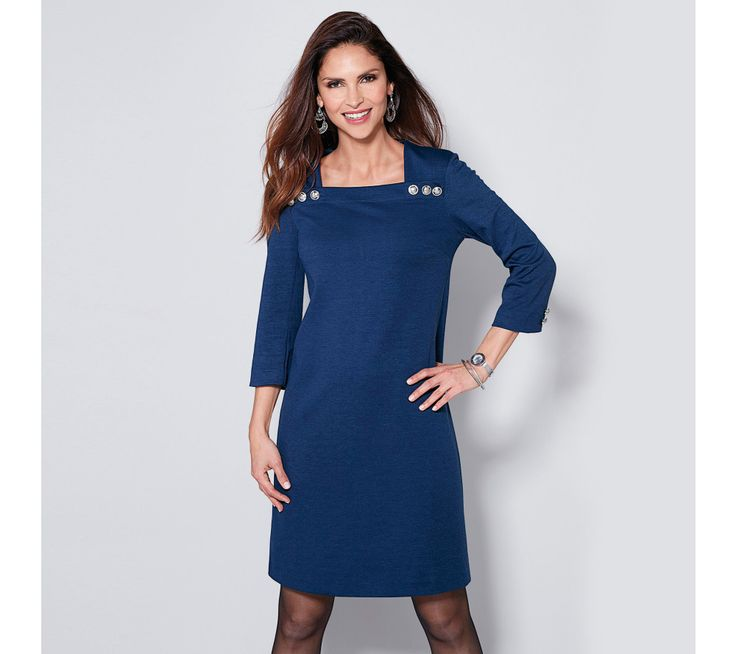Krátké šaty se 3/4 rukávy a knoflíčky   modino.cz #modino_cz #modino_style #style #fashion #autumn #bestseller #podzim