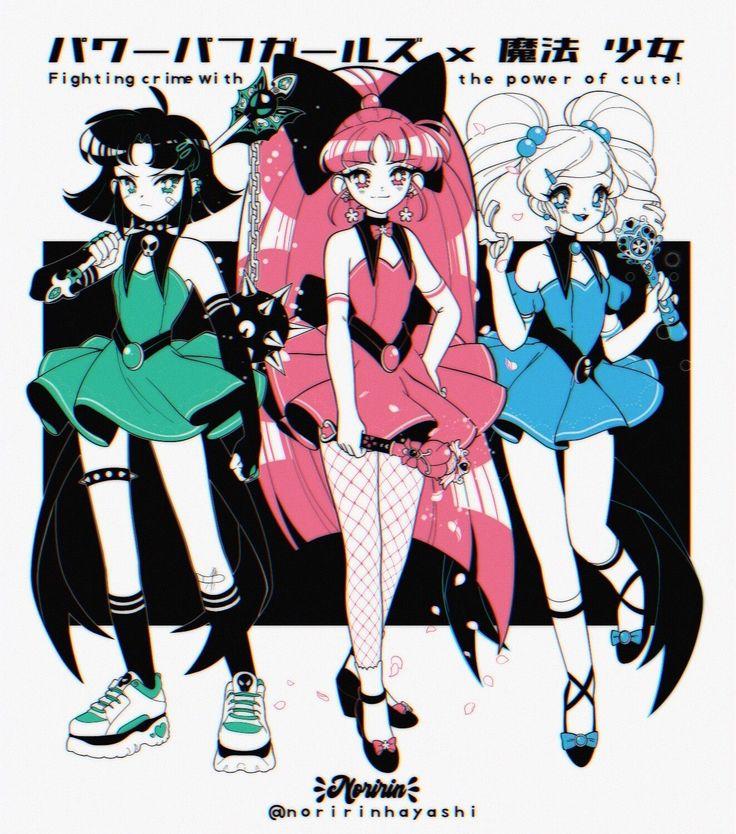 Powerpuff Girls in 90's anime style, Noririn Art tintiri