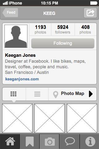 Instagram Profile Page mobile UI design pattern. Good for