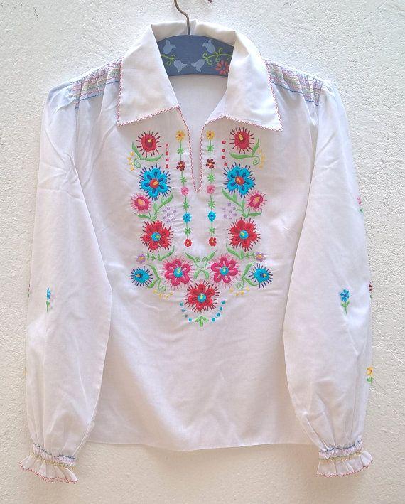 Blusa vintage boho bordada Talla 38 FR