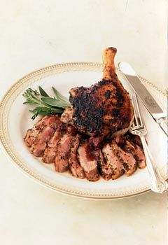 Herb-Rubbed Duck with Tart Cherry and Sage Sauce Photo at Epicurious.com