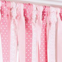 Replace curtians with ribbon~~this is awesome for a kid's room!.... Im so