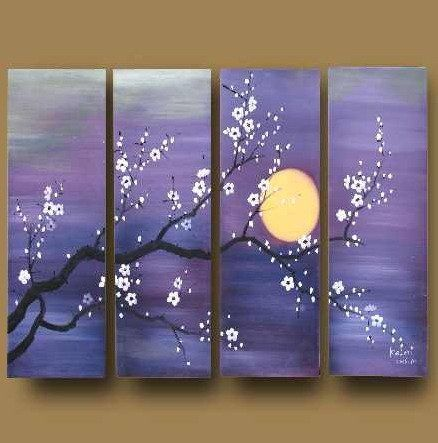 Amazon.com: Asian Zen Decorative Oil Painting Hand Painted Wall Art 4 Piece: Home & Kitchen @April Bartlett - what about something like this painted?  :-D  Maybe more blue and less purple though.