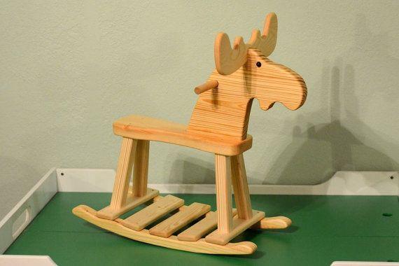 All Natural Wood Rocking Moose by MrNutsWoodshop on Etsy, $175.00