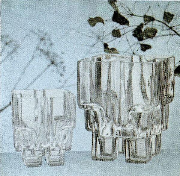 Paalutalo / Pile House. Designer: Helena Tynell. Arkisto: Riihimäen Lasitehdas Oy (1976). #tynell #glass #design #finnishdesign  #riihimaenlasi