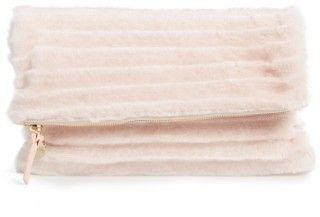 Clare Vivier Genuine Shearling Foldover Clutch - Pink