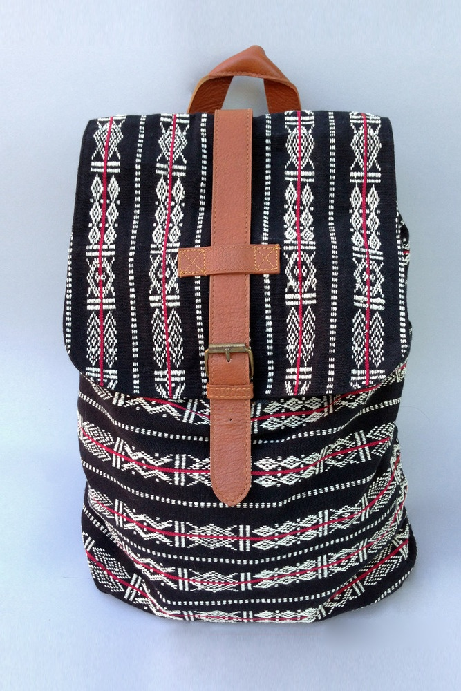 Garo fair trade backpack - traditional cotton woven pattern was developed  by the Garo people of